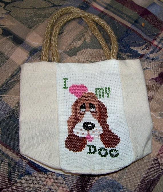 CLEARANCE - I LOVE MY DOG Finished Cross Stitched OOAK Mini-Tote Bag