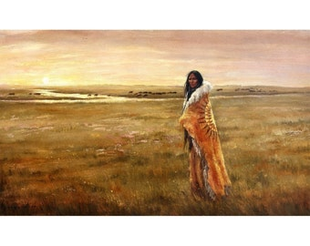 "Return of the White Buffalo Woman  24x12"" Paper Size: 25x13"""