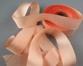 "Peach Blossom Hanah Silk Satin Ribbon 1"" Wide  3 yd length"
