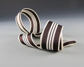 "Grosgrain Ribbon Tuxedo Sripe  Velvet Chocolate and White  1 1/2"" Wide 3 yd length Aram Ribbons"