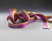 """1""""  MAGENTA GOLD BLUE Hand Painted Silk Satin Ribbon  Flamingo Glace Hanah 3 yard Length"""