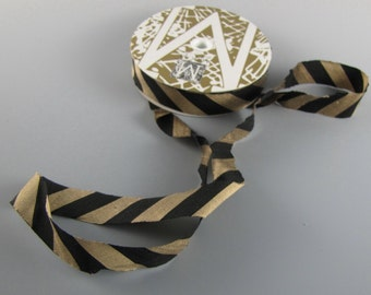 "MIDORI SILK RIBBON Black and Bronze Diagonal Striped  Dupioni 3/4"" Wide 3 yd Length"