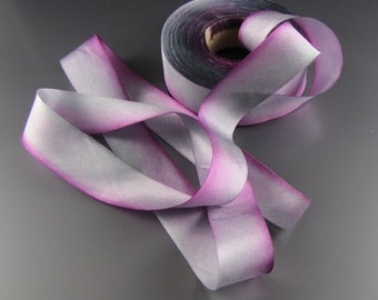 "1"" HAND PAINTED Silk Satin Wedding RIBBON Hanah  Ophelia  3 yard Length"