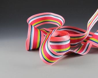 "1 "" Wide Coral Pink Blue Grosgrain Ribbon Stripes 3 Yard Length"