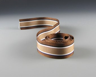 "1.5"" HATBAND MENS ACCESSORIES Ribbon Chocolate Cinnamon White 3 Yard Length"