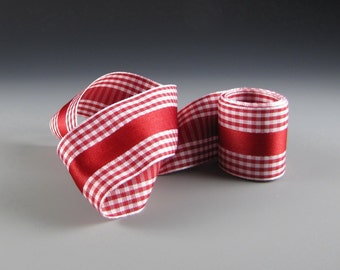 "1.5"" RED and White Satin Stripe GINGHAM RIBBON"