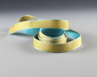 """1.25"""" and 5/8""""   AQUA GOLD TRIM Reversible Grosgrain Ribbon Adorn    4030-5   20 yard roll"""