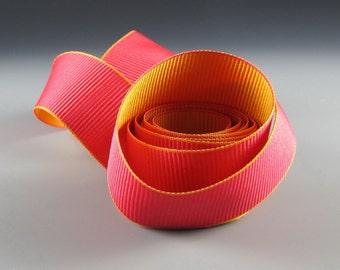 "Fuchsia and Tangerine Reversible Grosgrain Ribbon 1 1/4"" Wide   2 yd length"