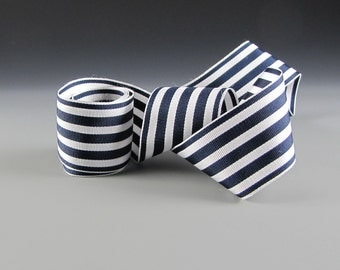 "Grosgrain Ribbon 1 1/2"" Wide Navy and White Striped 3 yd length"