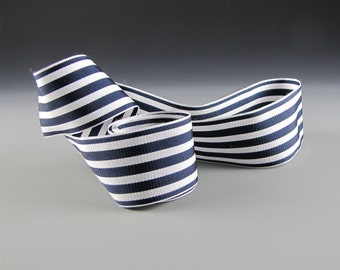 "1 .5""  WEDDING NAVY WHITE Stripes Grosgrain Ribbon Navy and White"
