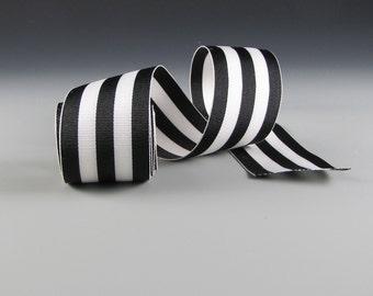 "1.5"" WEDDING BLACK and WHITE Ribbon  Striped Grosgrain Ribbon  3 Yard Length"
