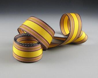 "YELLOW TERACOTTA Stripes Grosgrain RIBBON  1"" Wide   3 Yard Length"