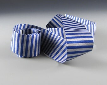 "1.25""  Royal BLUE and SILVER Vertical Stripe RIBBON"