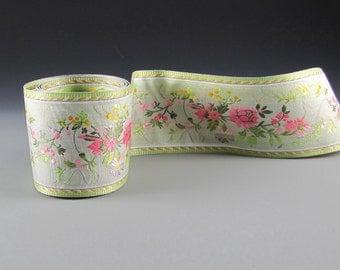 "2 5/8"" GREEN PINK JACQUARD  Wedding Bouquet Wrap Cheri Floral  Ribbon 2 Yard Length"