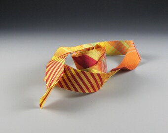 "PLAID SILK RIBBON Dupioni Midori  Orange Gold Plaid 3/4"" wide   3 yd length"