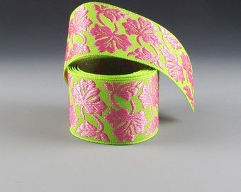 "1 5/8"" PET COLLAR RIBBON Rose Pink and Green Floral Jacquard"