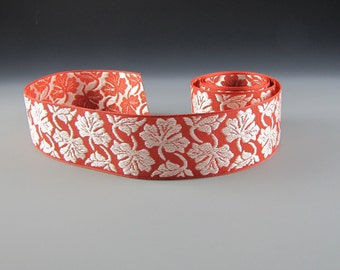 "1 5/8"" FLORAL Jacquard RIBBON TRIM Amber and Cream Wholesale"