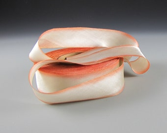 "1"" WEDDING SILK Satin RIBBON Hanah Peaches and Cream 3 yd length"