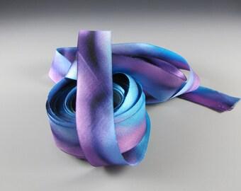 "1"" BLUE PURPLE Hanah Silk  RIBBON Satin Mother Spirit  Wedding Decor"
