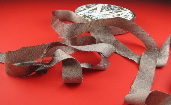 Ribbon Silk Dupioni Mocha Taupe 3 Yard Length  by Midori