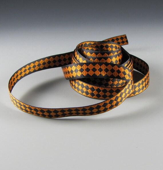 "Reversible Ribbon 1/2"" Wide  Black and Copper Diamonds 5 Yard Length"