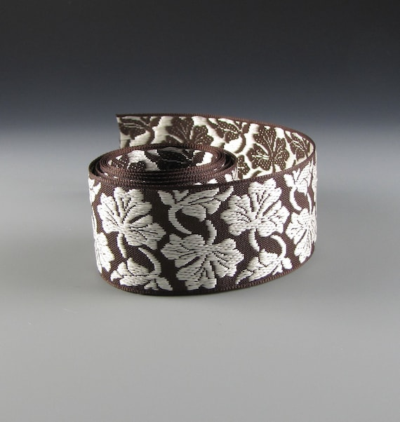 """1 5/8"""" PET COLLAR RIBBON Woven Floral Jacquard Coffee and Cream"""