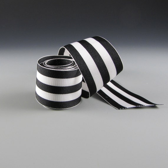 """Black and White Striped Grosgrain Ribbon 1 1/2"""" Wide Bold   5 yards"""