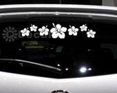Set 7pcs Hibiscus Flower Car Sticker Window Door Decal