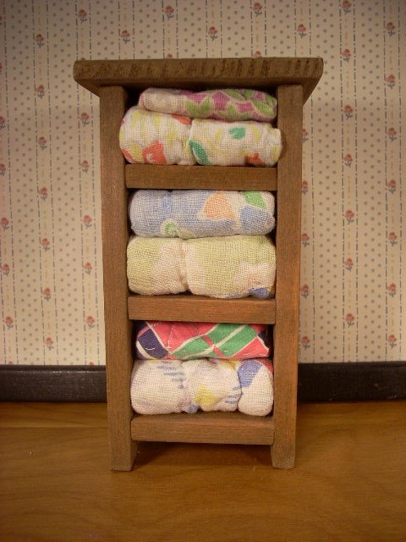 Small Wooden Storage Shelf with Quilts for Dollhouse or Display