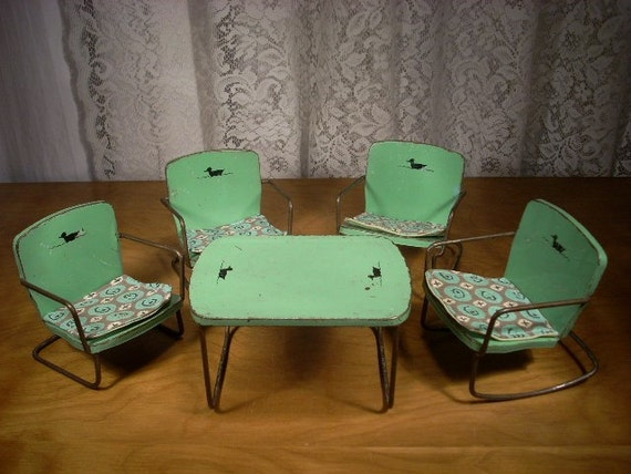Vintage Metal Patio Furniture For Small Dolls Table And 4