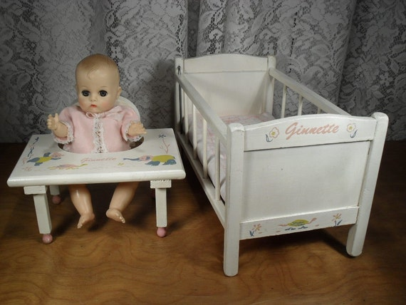 Vintage Strombecker Ginnette Doll Crib And Baby By Thetoybox