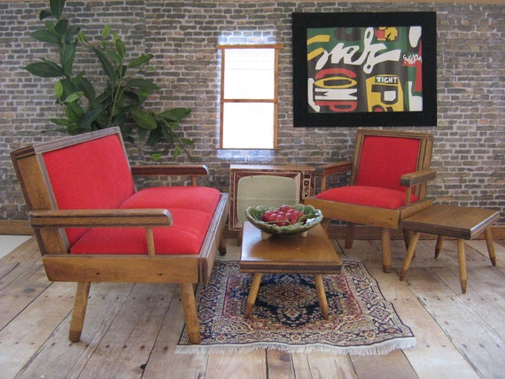 RESERVED FOR P.W. - Vintage 50's Hall's Modern Living Room Set With Television - Playscale