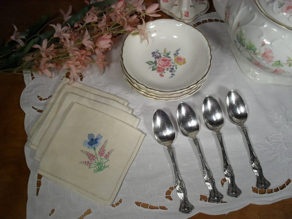 Vintage Tableware - Silver Plated Spoons - China Berry Bowls - Embroidered Napkins - Four of Each