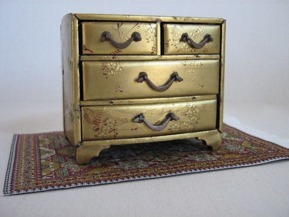 Beautiful Vintage Miniature Chinoiserie Gilded Chest For Small Dolls or Dollhouses