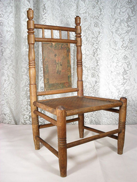 Antique Wooden Doll Chair with Lithographed Detail - 17 Inches Tall