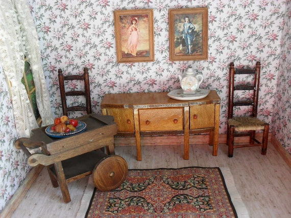 Wooden Dining Room Furniture for Dollhouse - Buffet - Tea Cart - More