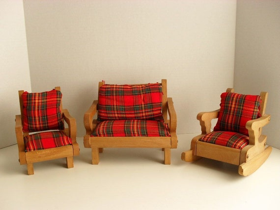 Mid-Century Doll Furniture - Settee Rocker and Chair with Tartan Plaid Upholstery for 8 Inch Dolls