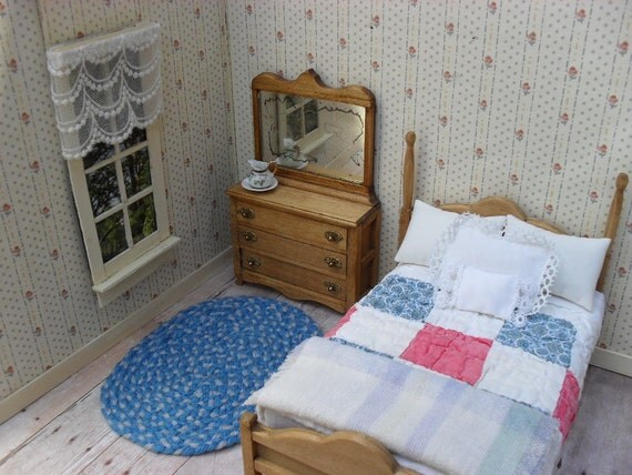 Adorable Wooden Dollhouse Bedroom Furniture - Bed and Bedding - Dresser