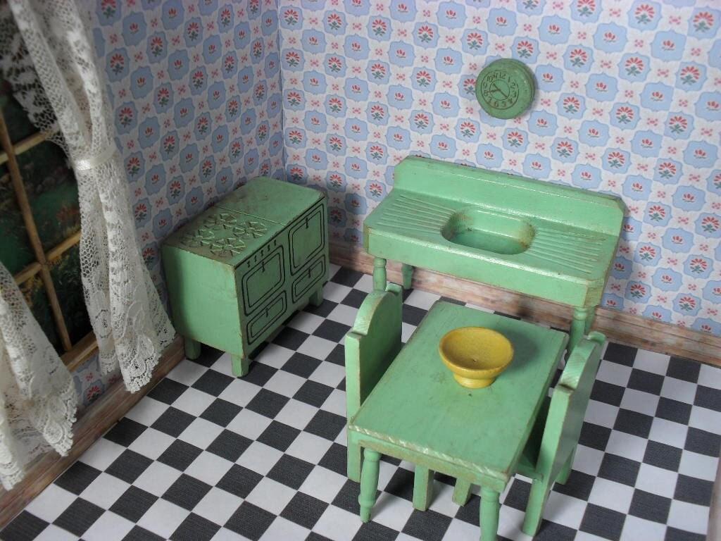 Vintage Strombecker Dollhouse Green Kitchen Furniture 1930s