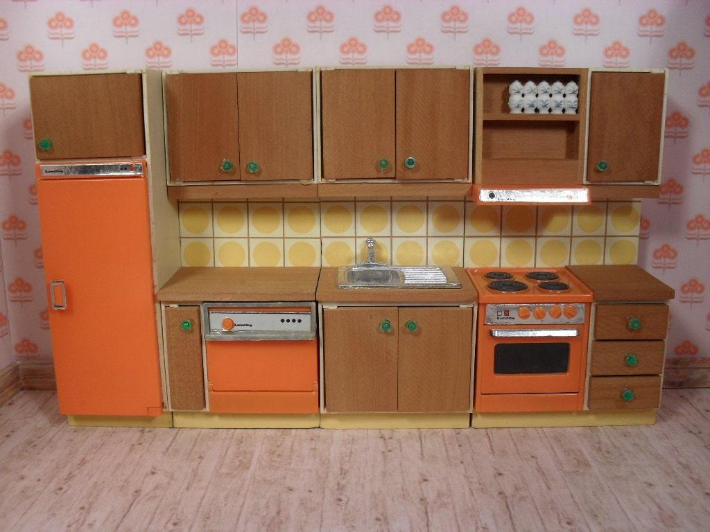 Vintage lundby dollhouse modern kitchen set from 1976 for Old modern kitchen