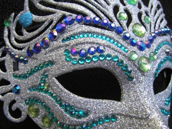 Mardi Gras Mask-Silver Embellished