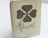 RARE Four Leaf Clover Lucky Charm Antique French Note Book with Calendar dated 1913