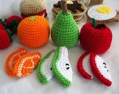 Fruit slices - crochet play food