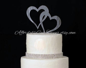 Heart Cake Topper - Double Heart Cake Topper - Two Hearts Cake Topper - Wedding Cake Topper - Mr and Mrs - Bride and Groom