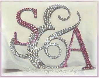 Wedding Cake Topper - Crystal Cake Topper - Personalized Initials Letter Monogram Cake Topper - Bride and Groom