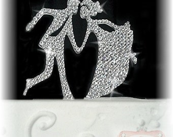 Dance Cake Topper - Swing Dancing - Wedding Cake Topper - Bride and Groom Cake Topper - Crystal Cake Topper - Mr and Mrs - Vintage Wedding