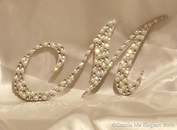 Crystal and Pearl Cake Topper - Wedding Cake Topper - Monogram Letter Cake Topper - Original Crystal and Pearl Cake Topper - Vintage Wedding