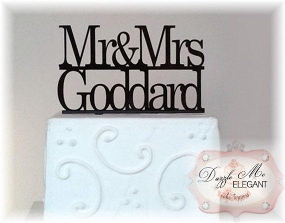 Name Cake Topper - Last Name Cake Topper - Custom Wedding Cake Topper - Personalized Name Cake Topper - Mr and Mrs - Bride and Groom