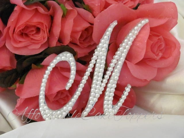 pearl monogram cake topper a