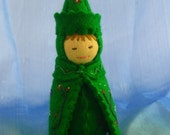 Botany Science Gnome Doll in Green-- Waldorf Inspired